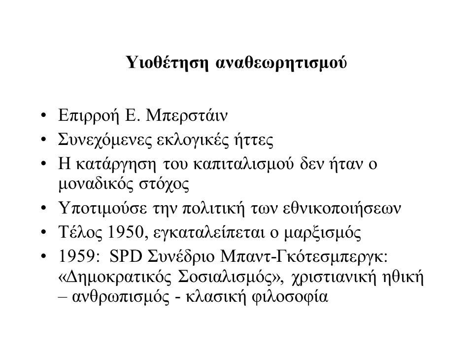Υιοθέτηση αναθεωρητισμού Επιρροή Ε.
