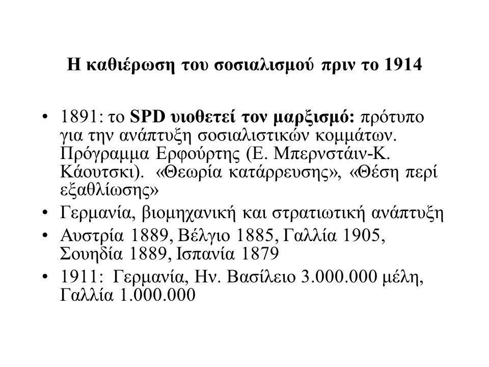 Η καθιέρωση του σοσιαλισμού πριν το 1914 1891: το SPD υιοθετεί τον μαρξισμό: πρότυπο για την ανάπτυξη σοσιαλιστικών κομμάτων. Πρόγραμμα Ερφούρτης (Ε.