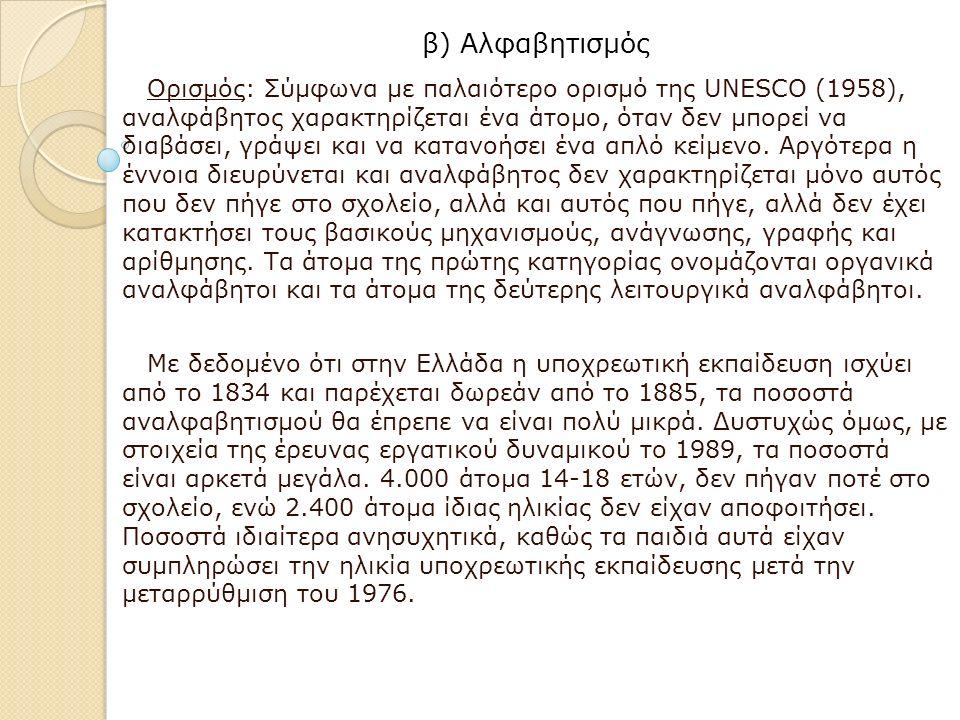 β) Αλφαβητισμός Ορισμός: Σύμφωνα με παλαιότερο ορισμό της UNESCO (1958), αναλφάβητος χαρακτηρίζεται ένα άτομο, όταν δεν μπορεί να διαβάσει, γράψει και