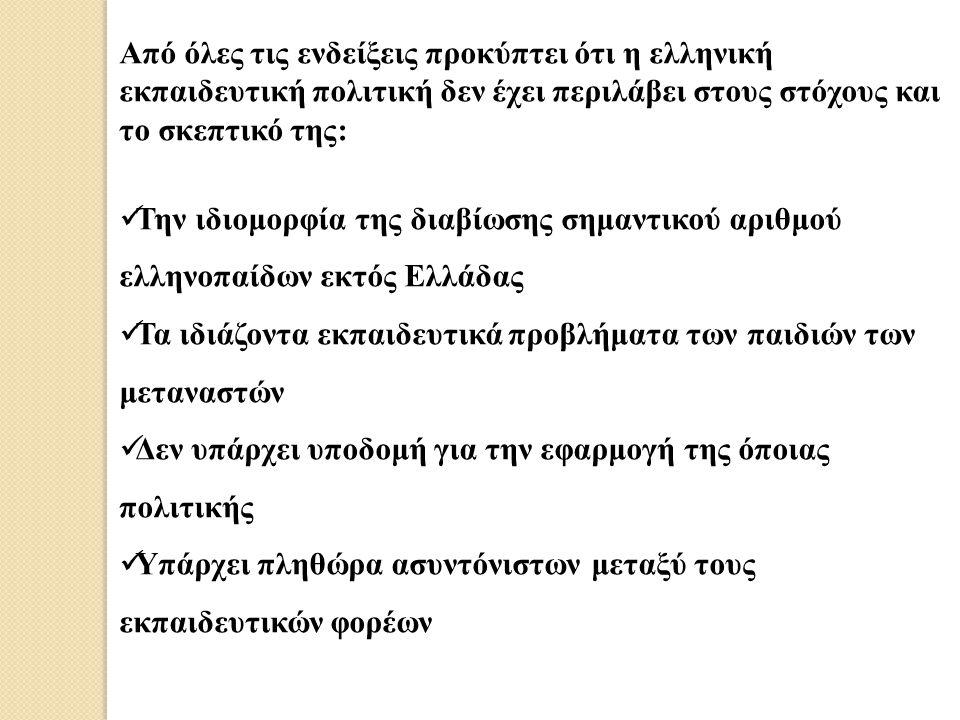 Από όλες τις ενδείξεις προκύπτει ότι η ελληνική εκπαιδευτική πολιτική δεν έχει περιλάβει στους στόχους και το σκεπτικό της: Την ιδιομορφία της διαβίωσ