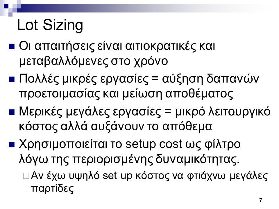 7 Lot Sizing Οι απαιτήσεις είναι αιτιοκρατικές και μεταβαλλόμενες στο χρόνο Πολλές μικρές εργασίες = αύξηση δαπανών προετοιμασίας και μείωση αποθέματο