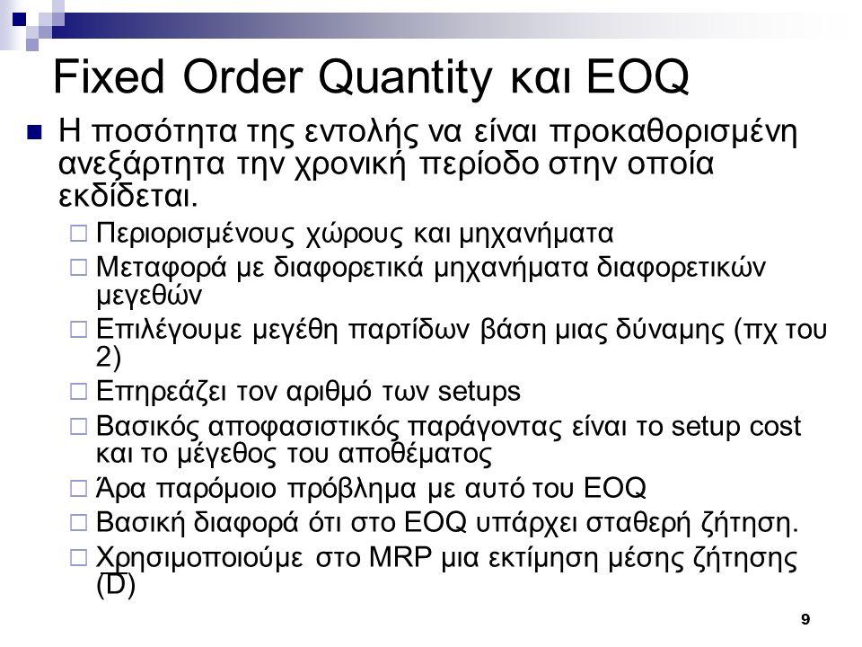 9 Fixed Order Quantity και EOQ H ποσότητα της εντολής να είναι προκαθορισμένη ανεξάρτητα την χρονική περίοδο στην οποία εκδίδεται.  Περιορισμένους χώ