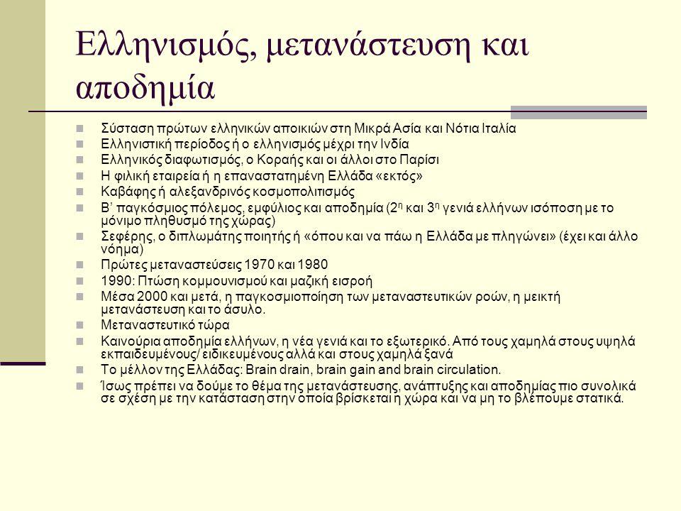 Ελληνισμός, μετανάστευση και αποδημία Σύσταση πρώτων ελληνικών αποικιών στη Μικρά Ασία και Νότια Ιταλία Ελληνιστική περίοδος ή ο ελληνισμός μέχρι την