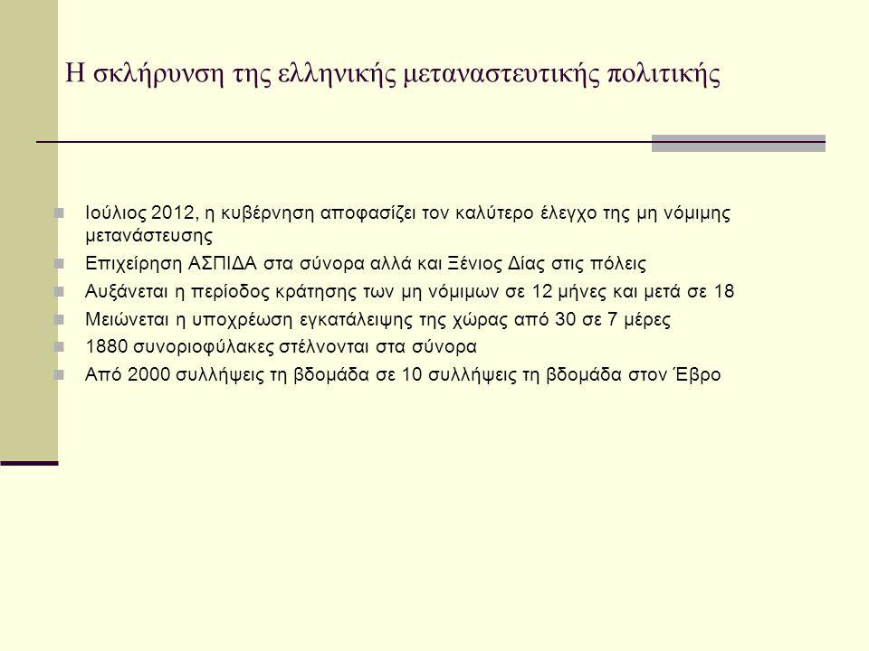Η σκλήρυνση της ελληνικής μεταναστευτικής πολιτικής Ιούλιος 2012, η κυβέρνηση αποφασίζει τον καλύτερο έλεγχο της μη νόμιμης μετανάστευσης Επιχείρηση Α
