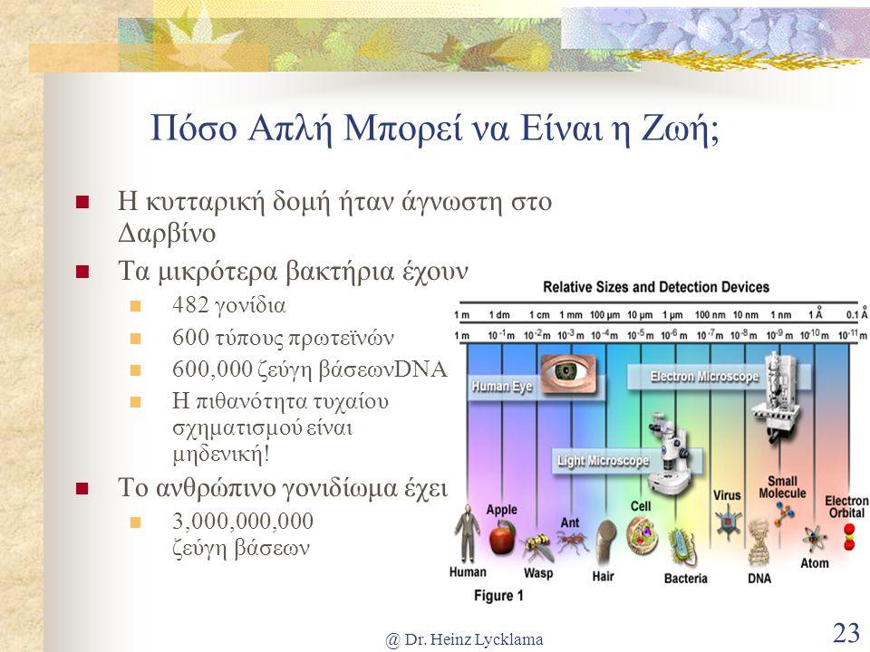 @ Dr. Heinz Lycklama 23 Πόσο Απλή Μπορεί να Είναι η Ζωή; Η κυτταρική δομή ήταν άγνωστη στο Δαρβίνο Τα μικρότερα βακτήρια έχουν 482 γονίδια 600 τύπους