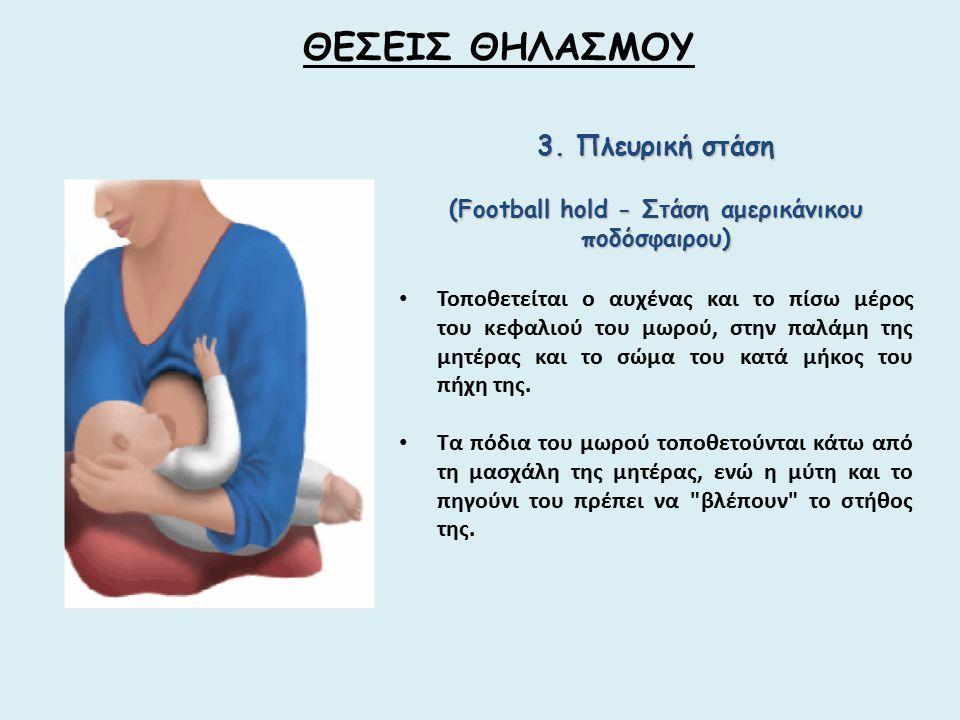 3. Πλευρική στάση (Football hold - Στάση αμερικάνικου ποδόσφαιρου) Τοποθετείται ο αυχένας και το πίσω μέρος του κεφαλιού του μωρού, στην παλάμη της μη