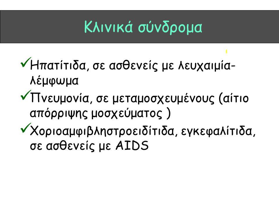 Κλινικά σύνδρομα Ηπατίτιδα, σε ασθενείς με λευχαιμία- λέμφωμα Πνευμονία, σε μεταμοσχευμένους (αίτιο απόρριψης μοσχεύματος ) Χοριοαμφιβληστροειδίτιδα,