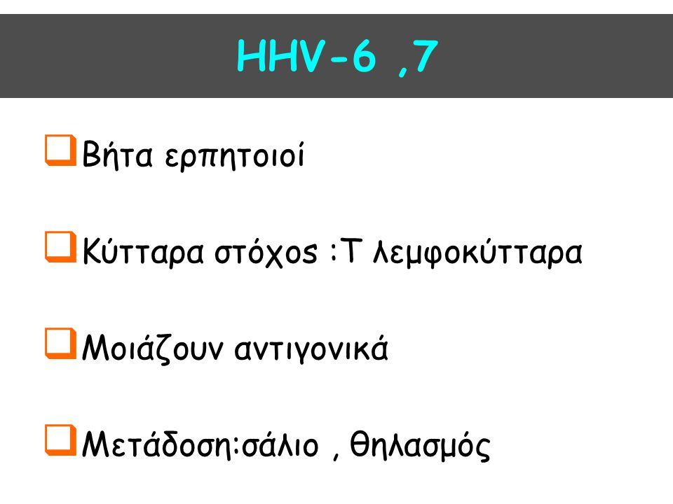  Βήτα ερπητοιοί  Κύτταρα στόχοs :T λεμφοκύτταρα  Μοιάζουν αντιγονικά  Μετάδοση:σάλιο, θηλασμός HHV-6,7