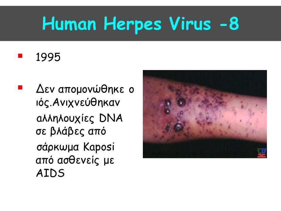 Human Herpes Virus -8  1995  Δεν απομονώθηκε ο ιός.Ανιχνεύθηκαν aλληλουχίες DNA σε βλάβες από σάρκωμα Kaposi από ασθενείς με AIDS
