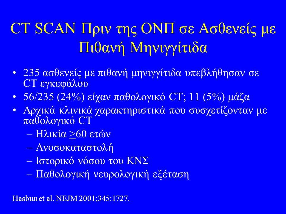 CT SCAN Πριν της ΟΝΠ σε Ασθενείς με Πιθανή Μηνιγγίτιδα 235 ασθενείς με πιθανή μηνιγγίτιδα υπεβλήθησαν σε CT εγκεφάλου 56/235 (24%) είχαν παθολογικό CT; 11 (5%) μάζα Αρχικά κλινικά χαρακτηριστικά που συσχετίζονταν με παθολογικό CT –Ηλικία >60 ετών –Ανοσοκαταστολή –Ιστορικό νόσου του ΚΝΣ –Παθολογική νευρολογική εξέταση Hasbun et al.