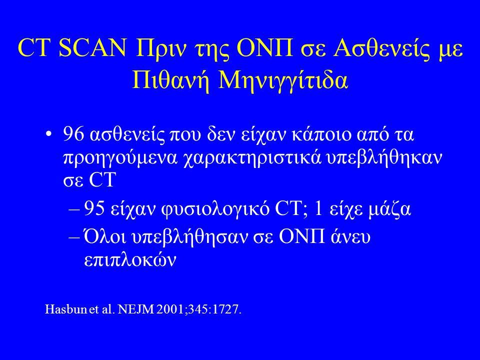 CT SCAN Πριν της ΟΝΠ σε Ασθενείς με Πιθανή Μηνιγγίτιδα 96 ασθενείς που δεν είχαν κάποιο από τα προηγούμενα χαρακτηριστικά υπεβλήθηκαν σε CT –95 είχαν φυσιολογικό CT; 1 είχε μάζα –Όλοι υπεβλήθησαν σε ΟΝΠ άνευ επιπλοκών Hasbun et al.