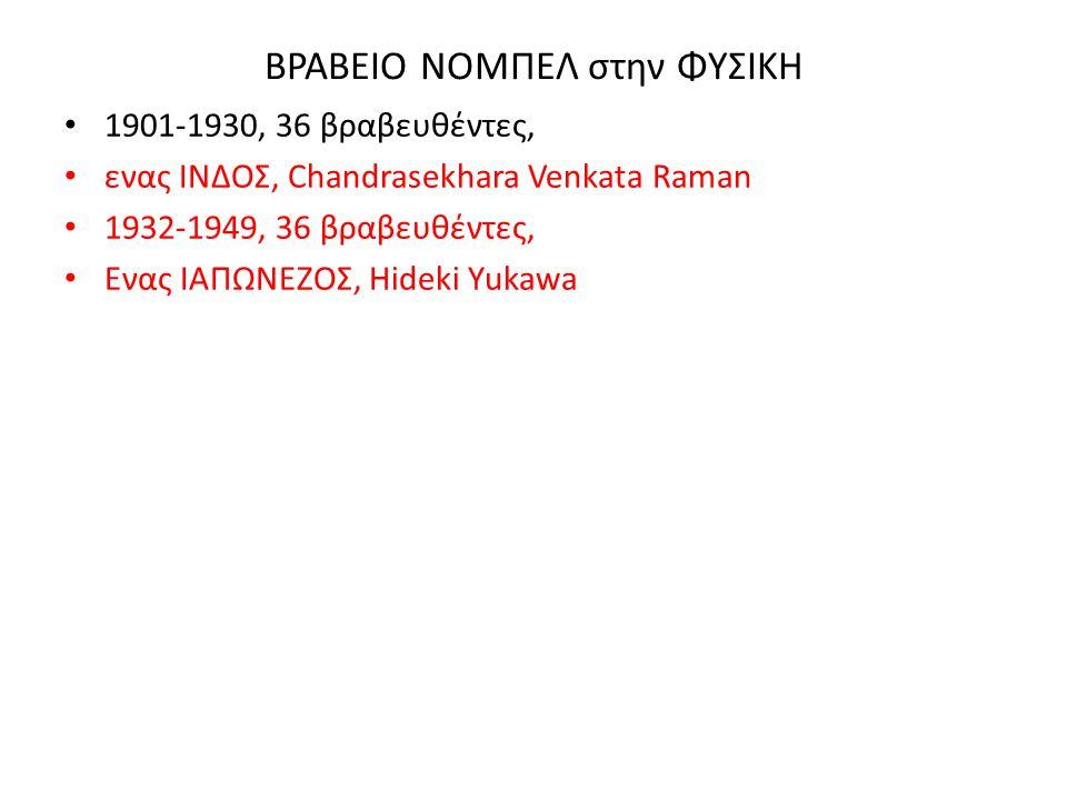 ΒΡΑΒΕΙΟ ΝΟΜΠΕΛ στην ΦΥΣΙΚΗ 1901-1930, 36 βραβευθέντες, ενας ΙΝΔΟΣ, Chandrasekhara Venkata Raman 1932-1949, 36 βραβευθέντες, Ενας ΙΑΠΩΝΕΖΟΣ, Hideki Yuk