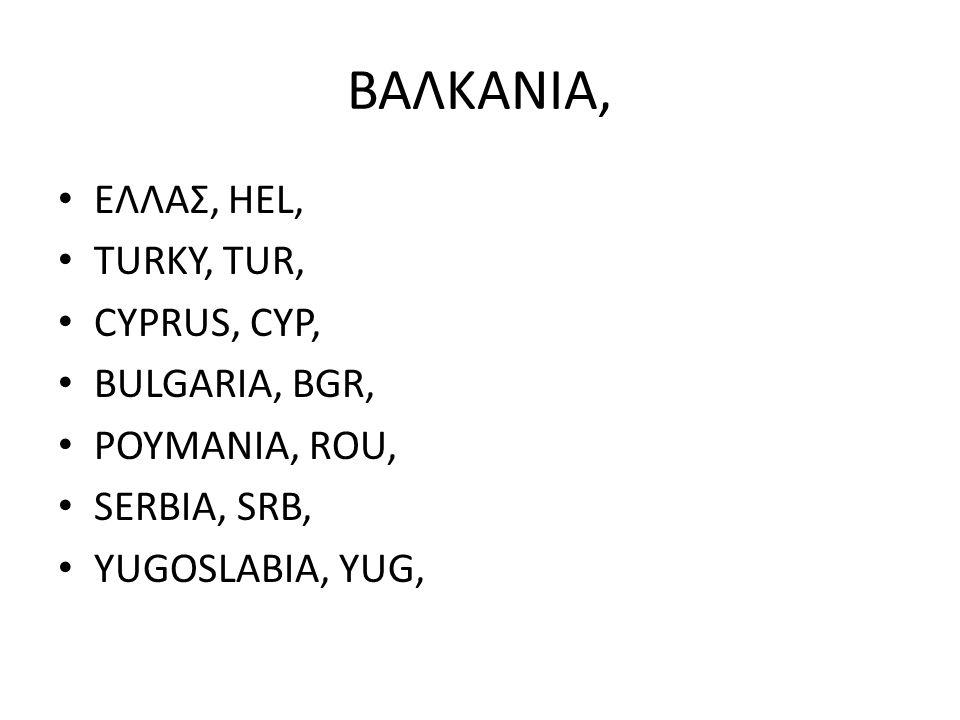 ΒΑΛΚΑΝΙΑ, ΕΛΛΑΣ, HEL, TURKY, TUR, CYPRUS, CYP, BULGARIA, BGR, POYMANIA, ROU, SERBIA, SRB, YUGOSLABIA, YUG,