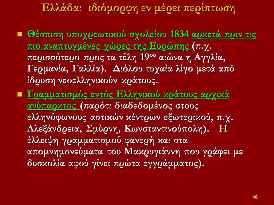 46 Eλλάδα: ιδιόμορφη εν μέρει περίπτωση Eλλάδα: ιδιόμορφη εν μέρει περίπτωση Θέσπιση υποχρεωτικού σχολείου 1834 αρκετά πριν τις πιο αναπτυγμένες χώρες της Ευρώπης (π.χ.