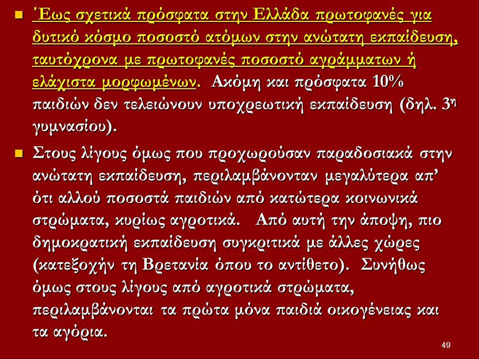 ΄Εως σχετικά πρόσφατα στην Ελλάδα πρωτοφανές για δυτικό κόσμο ποσοστό ατόμων στην ανώτατη εκπαίδευση, ταυτόχρονα με πρωτοφανές ποσοστό αγράμματων ή ελάχιστα μορφωμένων.