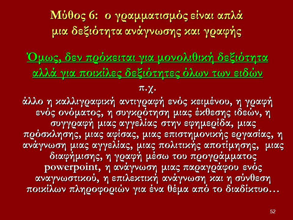 52 Μύθος 6: ο γραμματισμός είναι απλά μια δεξιότητα ανάγνωσης και γραφής Όμως, δεν πρόκειται για μονολιθική δεξιότητα αλλά για ποικίλες δεξιότητες όλων των ειδών π.χ.