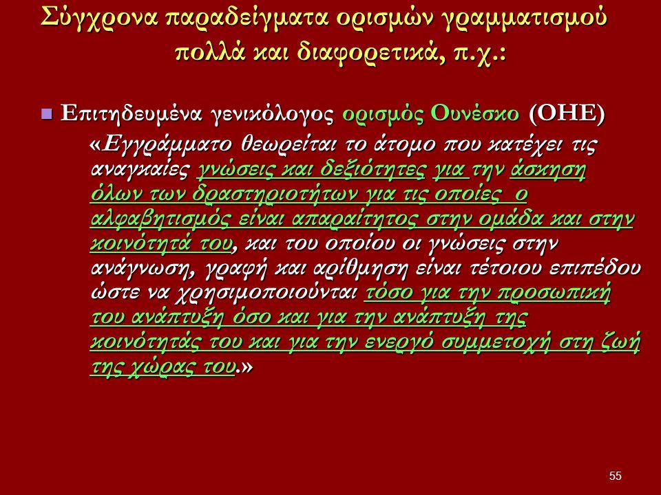 Σύγχρονα παραδείγματα ορισμών γραμματισμού πολλά και διαφορετικά, π.χ.: Επιτηδευμένα γενικόλογος ορισμός Ουνέσκο (ΟΗΕ) Επιτηδευμένα γενικόλογος ορισμός Ουνέσκο (ΟΗΕ) «Εγγράμματο θεωρείται το άτομο που κατέχει τις αναγκαίες γνώσεις και δεξιότητες για την άσκηση όλων των δραστηριοτήτων για τις οποίες ο αλφαβητισμός είναι απαραίτητος στην ομάδα και στην κοινότητά του, και του οποίου οι γνώσεις στην ανάγνωση, γραφή και αρίθμηση είναι τέτοιου επιπέδου ώστε να χρησιμοποιούνται τόσο για την προσωπική του ανάπτυξη όσο και για την ανάπτυξη της κοινότητάς του και για την ενεργό συμμετοχή στη ζωή της χώρας του.» 55