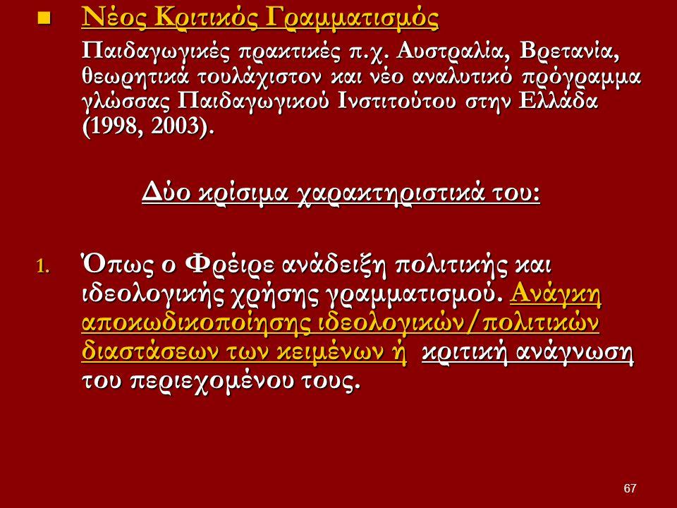 67 Nέος Κριτικός Γραμματισμός Nέος Κριτικός Γραμματισμός Παιδαγωγικές πρακτικές π.χ.