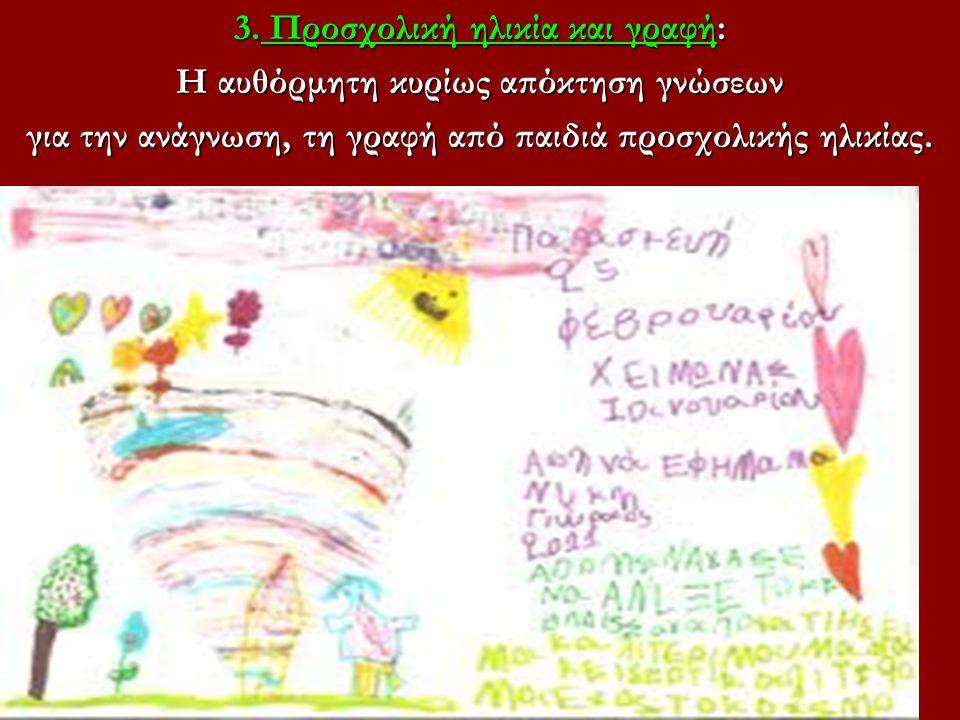 3. Προσχολική ηλικία και γραφή: Η αυθόρμητη κυρίως απόκτηση γνώσεων για την ανάγνωση, τη γραφή από παιδιά προσχολικής ηλικίας.