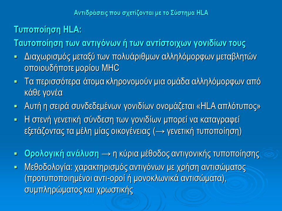 Αντιδράσεις που σχετίζονται με το Σύστημα HLA Τυποποίηση ΗLA: Ταυτοποίηση των αντιγόνων ή των αντίστοιχων γονιδίων τους  Διαχωρισμός μεταξύ των πολυά