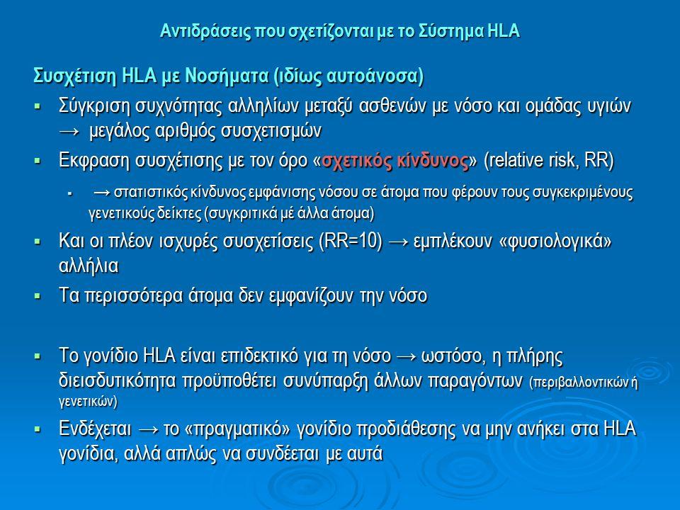 Αντιδράσεις που σχετίζονται με το Σύστημα HLA Συσχέτιση HLA με Νοσήματα (ιδίως αυτοάνοσα)  Σύγκριση συχνότητας αλληλίων μεταξύ ασθενών με νόσο και ομ