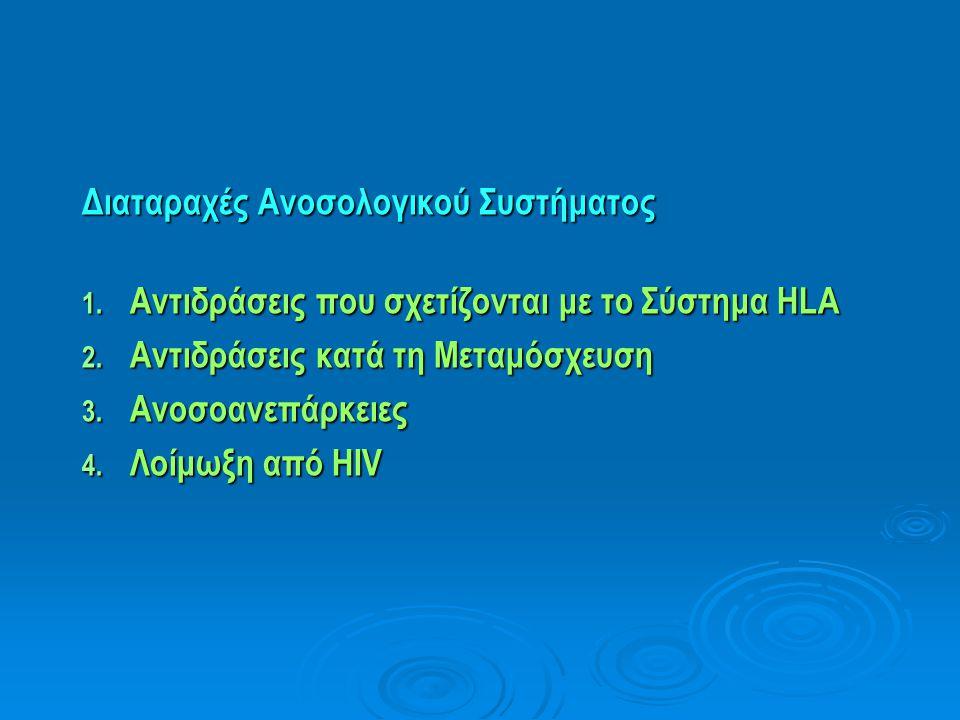 Διαταραχές Ανοσολογικού Συστήματος 1. Αντιδράσεις που σχετίζονται με το Σύστημα HLA 2. Αντιδράσεις κατά τη Μεταμόσχευση 3. Ανοσοανεπάρκειες 4. Λοίμωξη