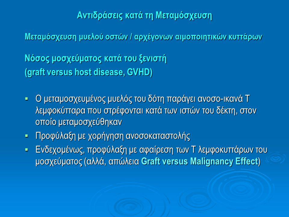 Αντιδράσεις κατά τη Μεταμόσχευση Μεταμόσχευση μυελού οστών / αρχέγονων αιμοποιητικών κυττάρων Νόσος μοσχεύματος κατά του ξενιστή (graft versus host di