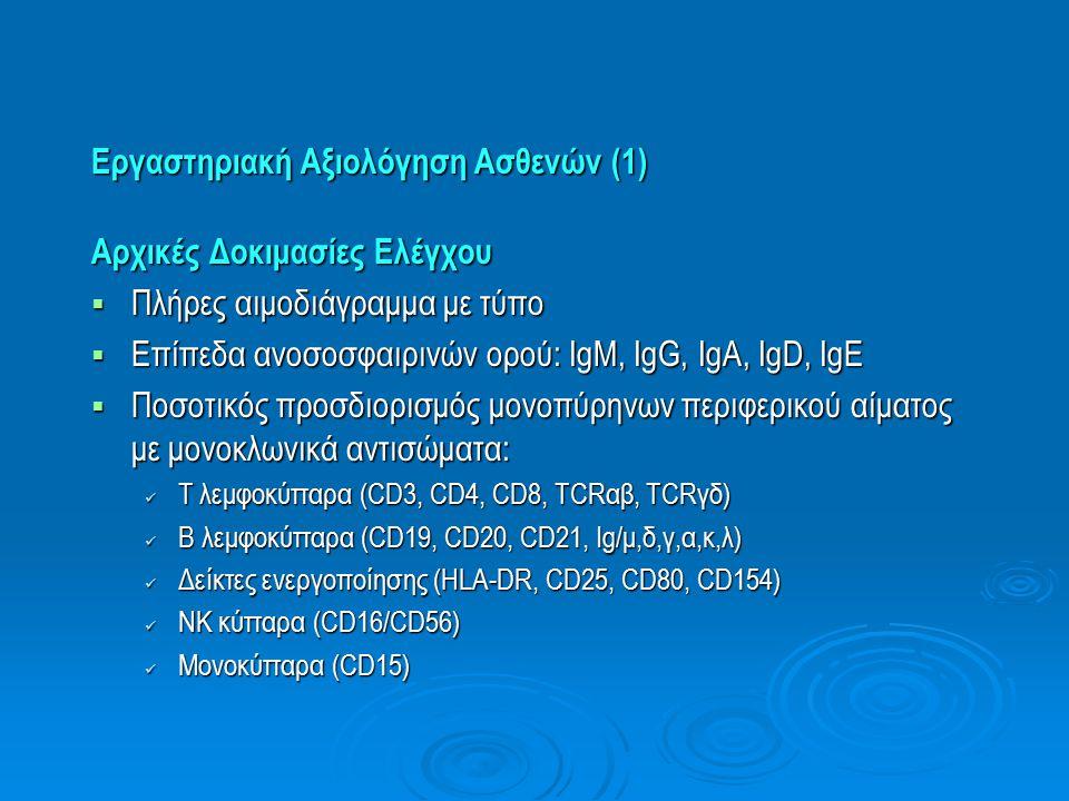 Εργαστηριακή Αξιολόγηση Ασθενών (1) Αρχικές Δοκιμασίες Ελέγχου  Πλήρες αιμοδιάγραμμα με τύπο  Επίπεδα ανοσοσφαιρινών ορού: IgM, IgG, IgA, IgD, IgE 