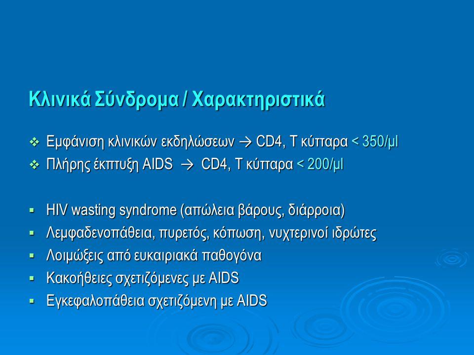 Κλινικά Σύνδρομα / Χαρακτηριστικά  Εμφάνιση κλινικών εκδηλώσεων → CD4, Τ κύτταρα < 350/μl  Πλήρης έκπτυξη AIDS → CD4, Τ κύτταρα < 200/μl  HIV wasti