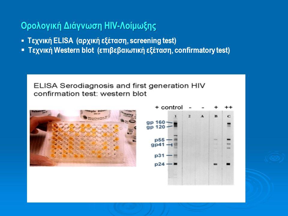 Ορολογική Διάγνωση HIV-Λοίμωξης  Τεχνική ELISA (αρχική εξέταση, screening test)  Tεχνική Western blot (επιβεβαιωτική εξέταση, confirmatory test)