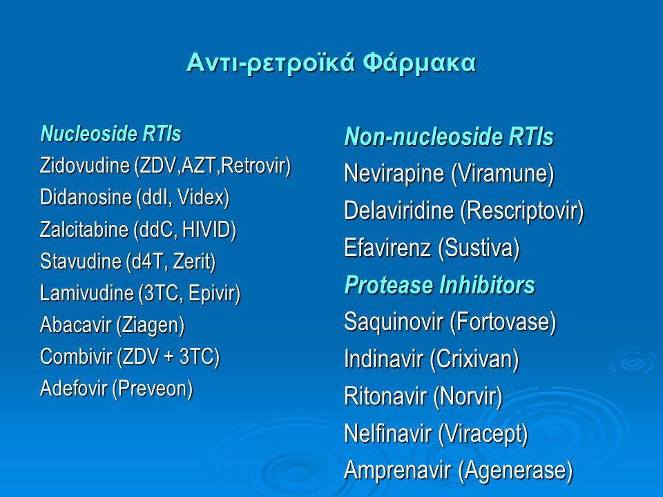 Αντι-ρετροϊκά Φάρμακα Nucleoside RTIs Zidovudine (ZDV,AZT,Retrovir) Didanosine (ddI, Videx) Zalcitabine (ddC, HIVID) Stavudine (d4T, Zerit) Lamivudine
