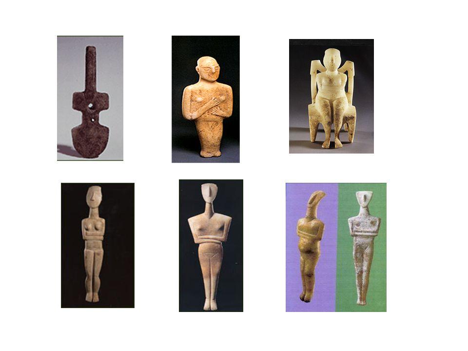 Ας συνοψίσουμε… Ειδώλια: ανθρωπόμορφα, συνήθως, αγαλματίδια Χώροι εύρεσης: τάφοι, σπίτια, ιερά Υλικό κατασκευής: λευκό μάρμαρο, κυρίως, με χρήση μεταλλικών εργαλείων – ζωγραφική με ορυκτά χρώματα Άγνωστος ο σκοπός κατασκευής τους και η σημασία τους (μαγικές απεικονίσεις, λατρευτικές εικόνες θεών, φυλαχτά;) Απεικόνιση, συνήθως, γυναικείων μορφών σε μετωπική στάση, με διπλωμένα χέρια στο στήθος και ενωμένα πόδια Πιο σπάνια η απεικόνιση ανδρικών μορφών Κύρια χαρακτηριστικά: σχηματοποίηση και απλότητα (αλλά και φαντασία και πρωτοτυπία) Ομοιότητά τους με σύγχρονα γλυπτά.