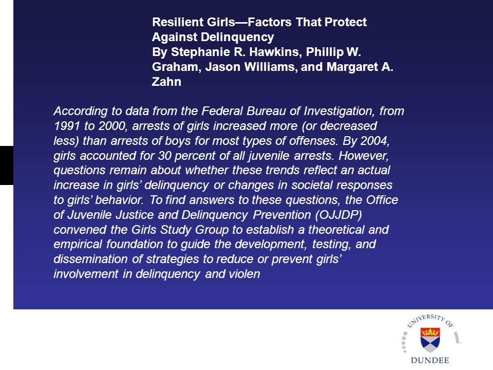 Resilient Girls—Factors That Protect Against Delinquency By Stephanie R.