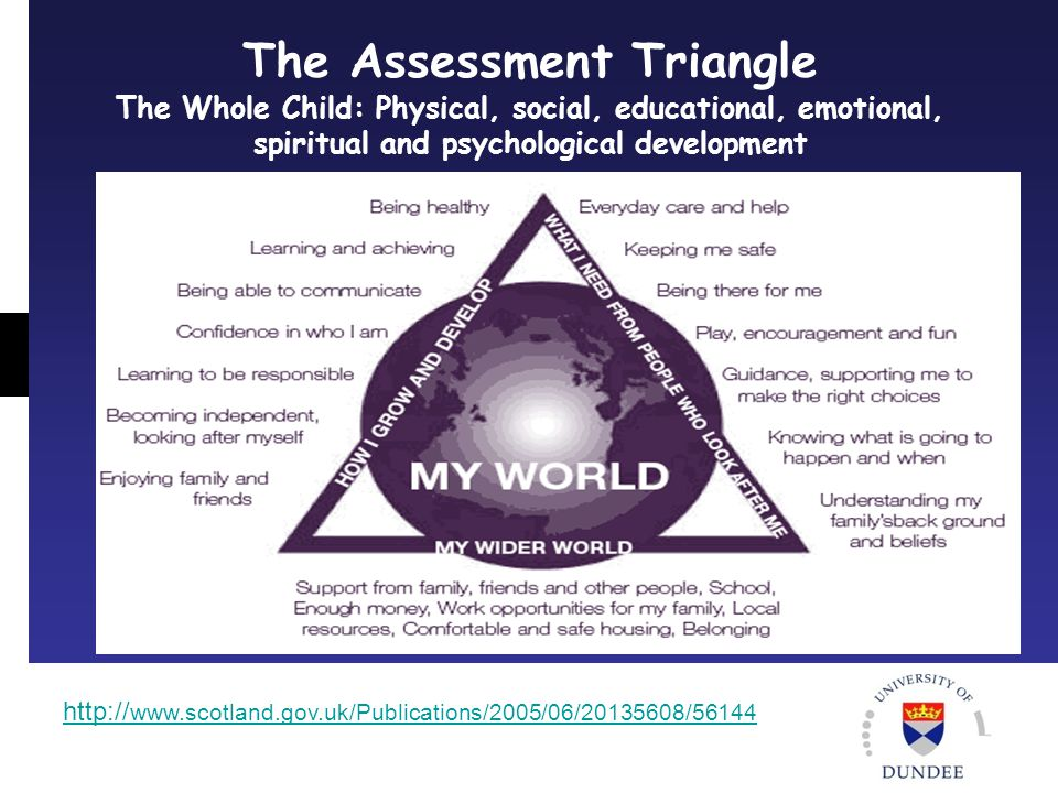 The Assessment Triangle The Whole Child: Physical, social, educational, emotional, spiritual and psychological development http:// www.scotland.gov.uk/Publications/2005/06/20135608/56144