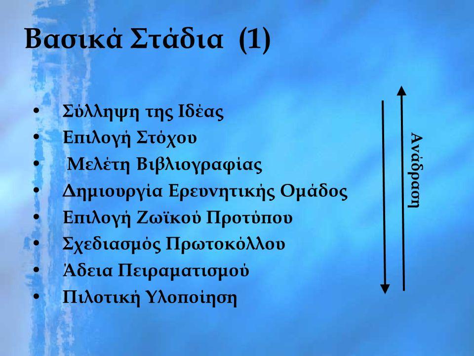 Βασικά Στάδια (1) Σύλληψη της Ιδέας Επιλογή Στόχου Μελέτη Βιβλιογραφίας Δημιουργία Ερευνητικής Ομάδος Επιλογή Ζωϊκού Προτύπου Σχεδιασμός Πρωτοκόλλου Ά