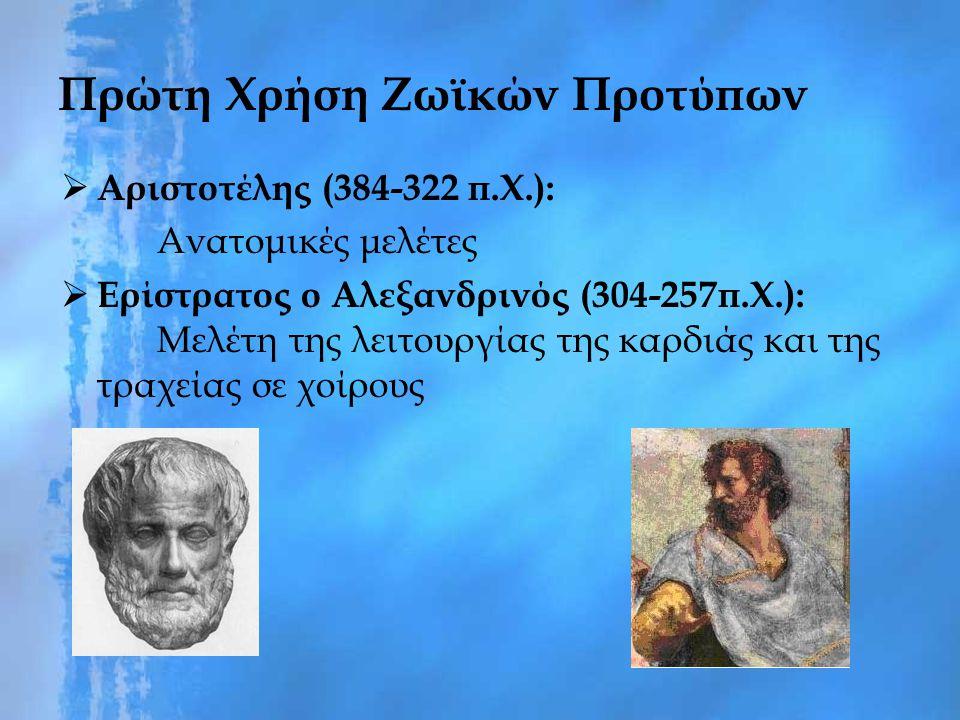 Πρώτη Χρήση Ζωϊκών Προτύπων  Αριστοτέλης (384-322 π.Χ.): Ανατομικές μελέτες  Ερίστρατος ο Αλεξανδρινός (304-257π.Χ.): Μελέτη της λειτουργίας της καρ
