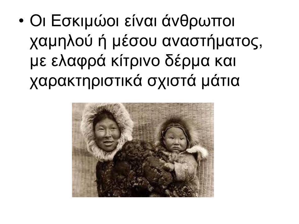 Οι Εσκιμώοι είναι άνθρωποι χαμηλού ή μέσου αναστήματος, με ελαφρά κίτρινο δέρμα και χαρακτηριστικά σχιστά μάτια