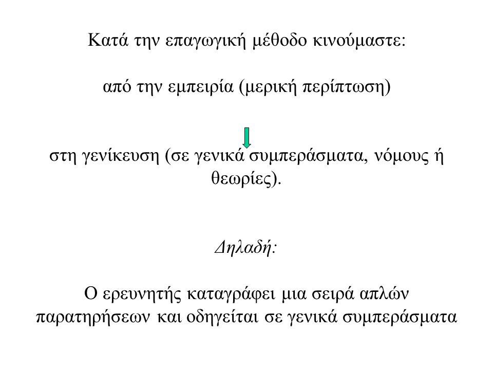 Κατά την επαγωγική μέθοδο κινούμαστε: από την εμπειρία (μερική περίπτωση) στη γενίκευση (σε γενικά συμπεράσματα, νόμους ή θεωρίες). Δηλαδή: Ο ερευνητή