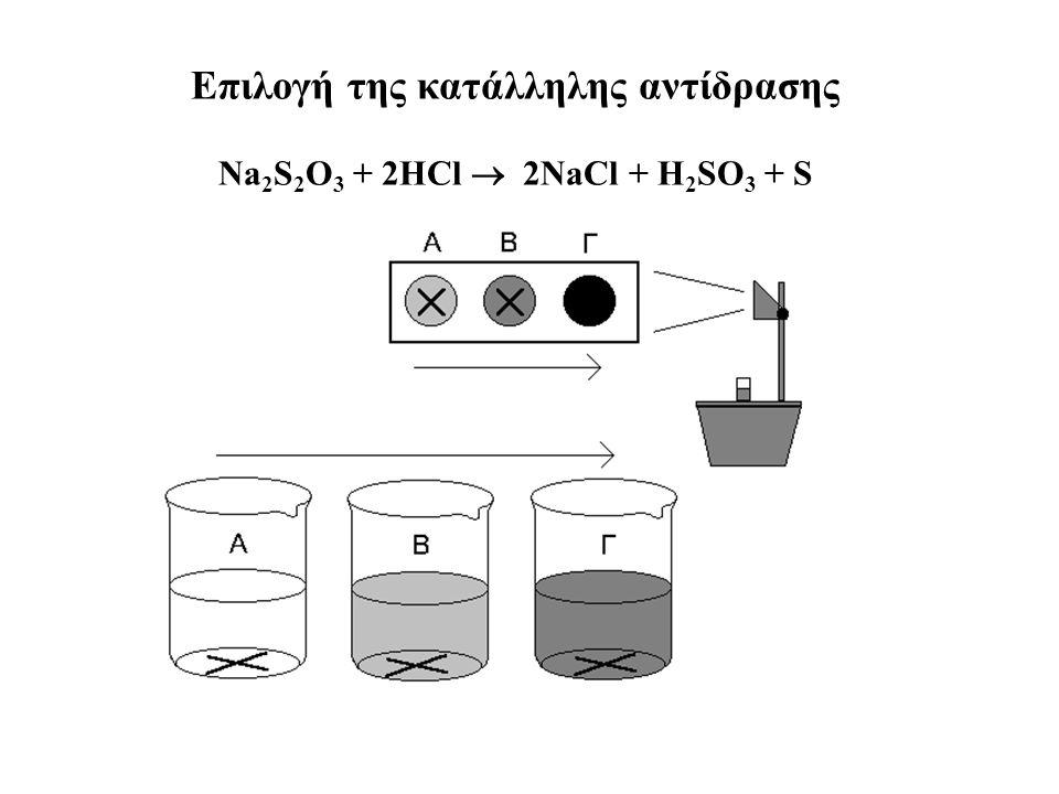 Επιλογή της κατάλληλης αντίδρασης Νa 2 S 2 O 3 + 2HCl  2NaCl + H 2 SO 3 + S
