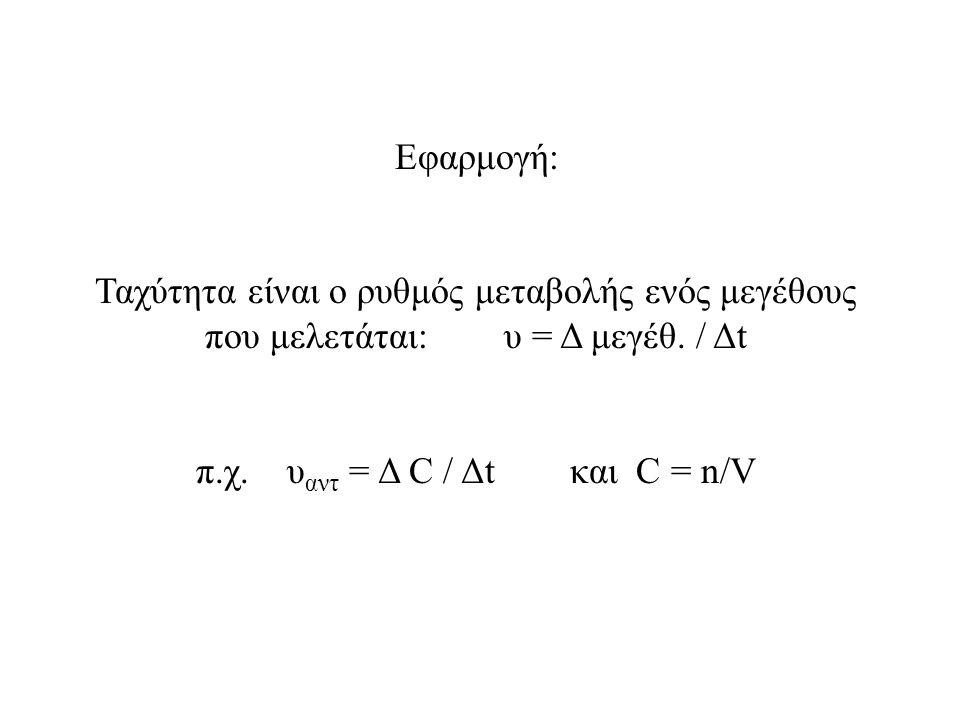 Εφαρμογή: Ταχύτητα είναι ο ρυθμός μεταβολής ενός μεγέθους που μελετάται: υ = Δ μεγέθ. / Δt π.χ. υ αντ = Δ C / Δt και C = n/V