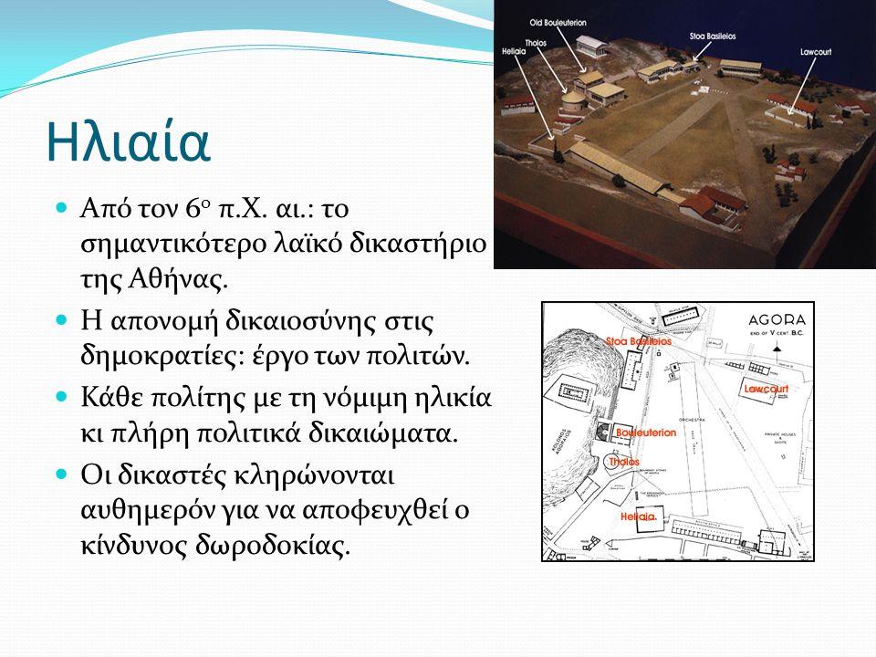 Ηλιαία Από τον 6 ο π.Χ. αι.: το σημαντικότερο λαϊκό δικαστήριο της Αθήνας. Η απονομή δικαιοσύνης στις δημοκρατίες: έργο των πολιτών. Κάθε πολίτης με τ