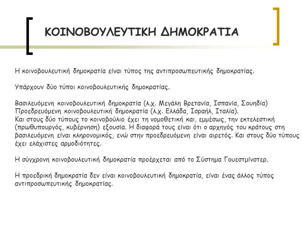 Η κοινοβουλευτική δημοκρατία είναι τύπος της αντιπροσωπευτικής δημοκρατίας.