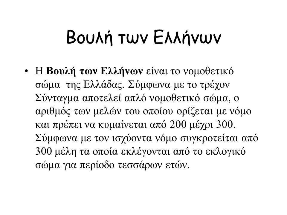 Βουλή των Ελλήνων Η Βουλή των Ελλήνων είναι το νομοθετικό σώμα της Ελλάδας.