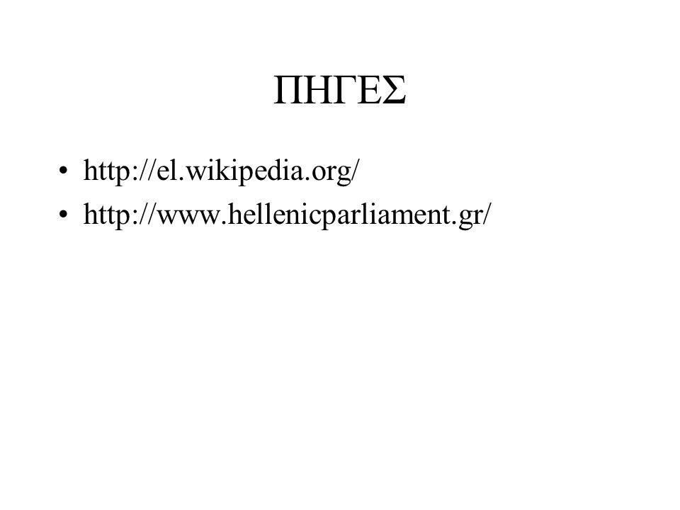 ΠΗΓΕΣ http://el.wikipedia.org/ http://www.hellenicparliament.gr/
