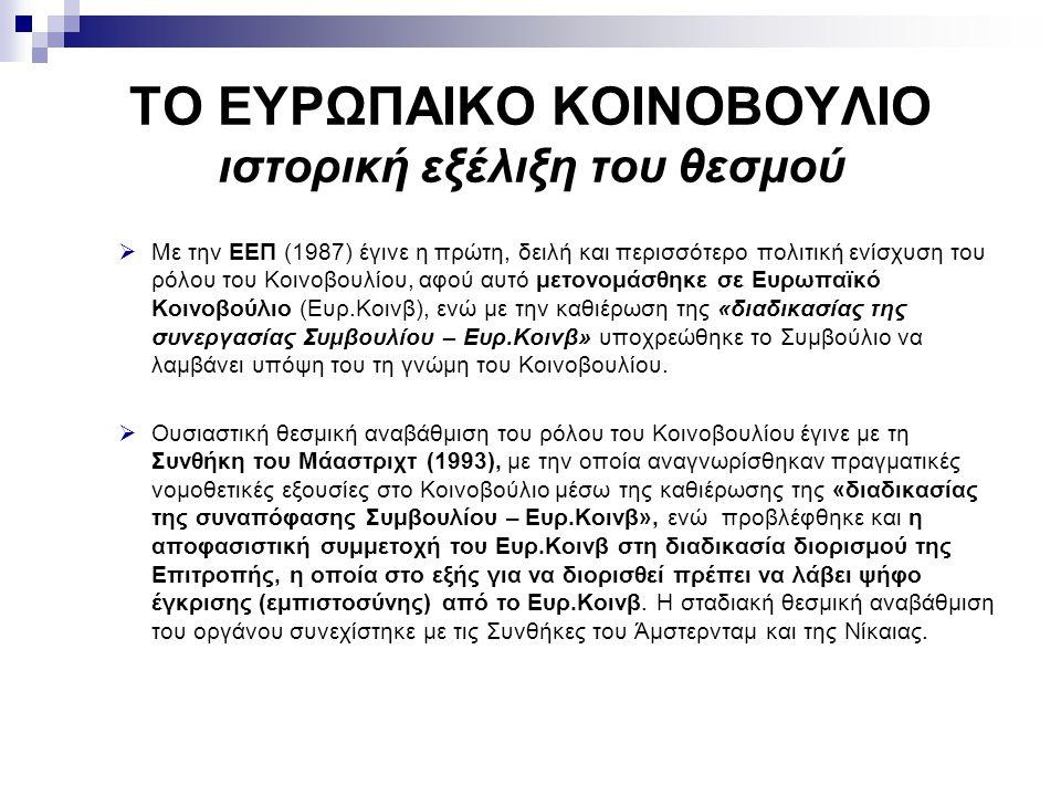 ΤΟ ΕΥΡΩΠΑΙΚΟ ΚΟΙΝΟΒΟΥΛΙΟ ιστορική εξέλιξη του θεσμού  Με την ΕΕΠ (1987) έγινε η πρώτη, δειλή και περισσότερο πολιτική ενίσχυση του ρόλου του Κοινοβου