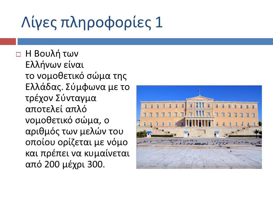 Λίγες πληροφορίες 1  Η Βουλή των Ελλήνων είναι το νομοθετικό σώμα της Ελλάδας.