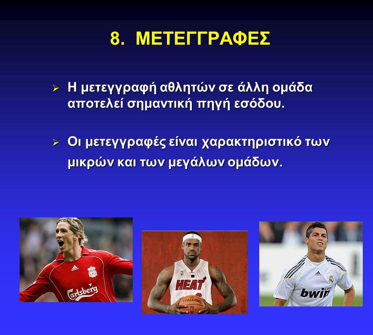 8.ΜΕΤΕΓΓΡΑΦΕΣ  Η μετεγγραφή αθλητών σε άλλη ομάδα αποτελεί σημαντική πηγή εσόδου.