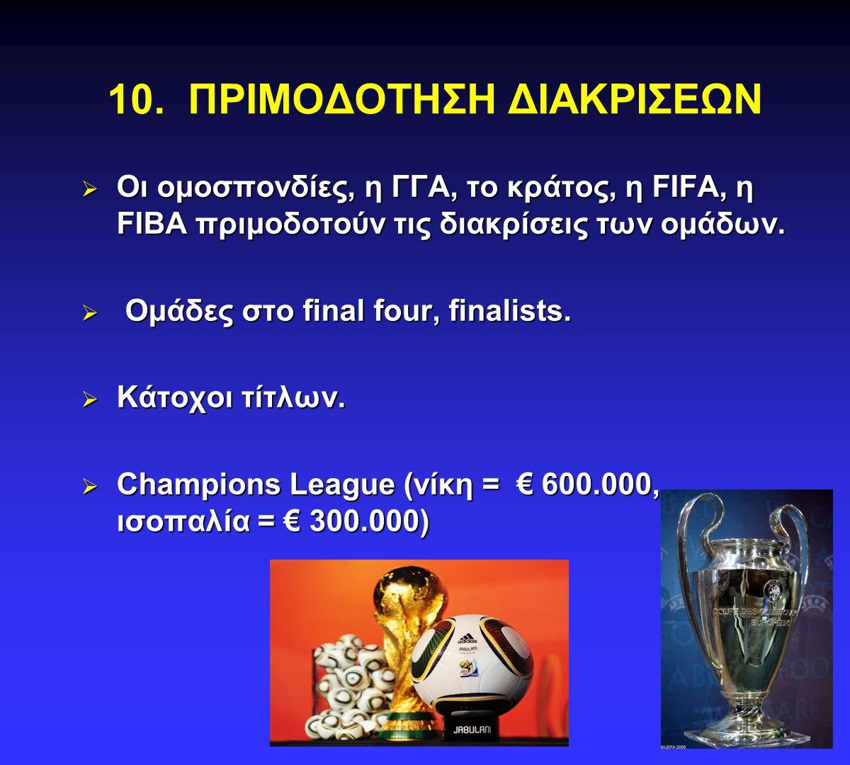 10. ΠΡΙΜΟΔΟΤΗΣΗ ΔΙΑΚΡΙΣΕΩΝ  Οι ομοσπονδίες, η ΓΓΑ, το κράτος, η FIFA, η FIBA πριμοδοτούν τις διακρίσεις των ομάδων.  Ομάδες στο final four, finalist