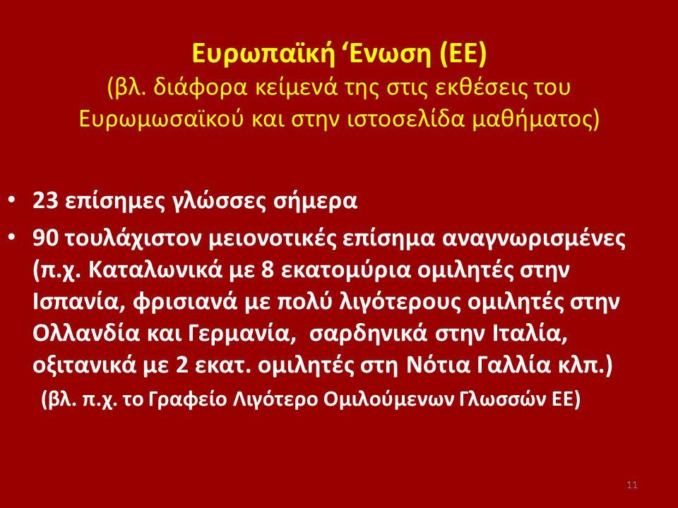 Ευρωπαϊκή 'Ενωση (ΕΕ) (βλ. διάφορα κείμενά της στις εκθέσεις του Ευρωμωσαϊκού και στην ιστοσελίδα μαθήματος) 23 επίσημες γλώσσες σήμερα 90 τουλάχιστον