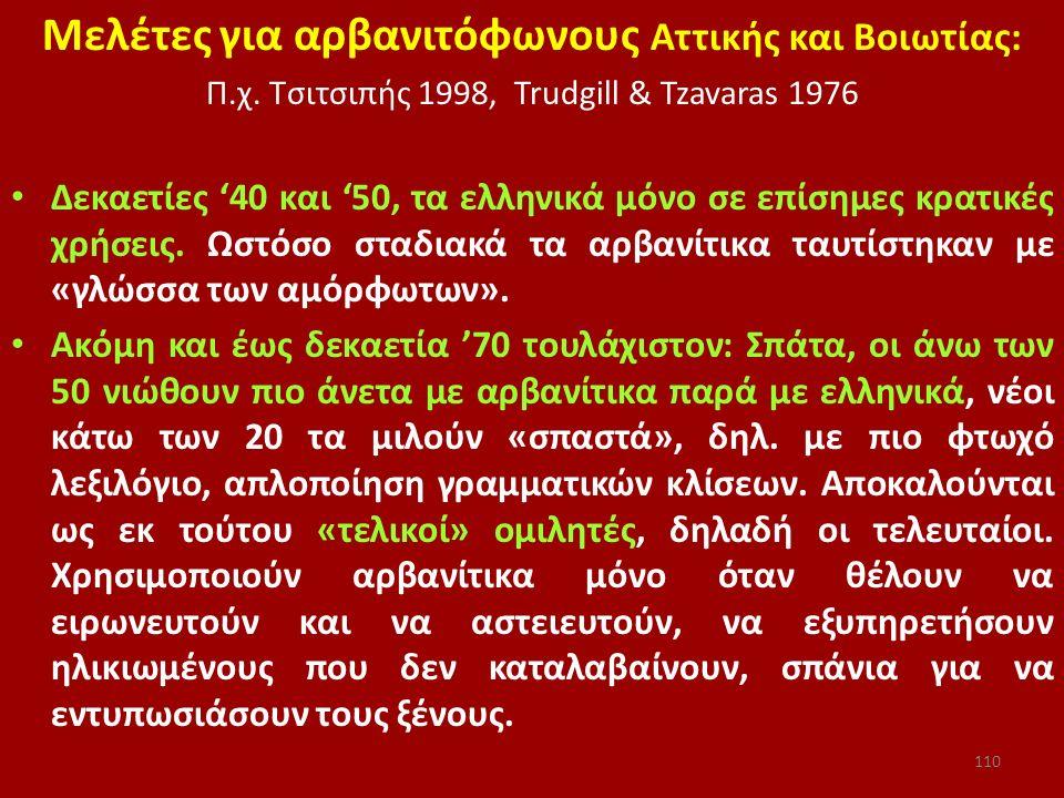 Μελέτες για αρβανιτόφωνους Αττικής και Βοιωτίας: Π.χ. Τσιτσιπής 1998, Trudgill & Tzavaras 1976 Δεκαετίες '40 και '50, τα ελληνικά μόνο σε επίσημες κρα
